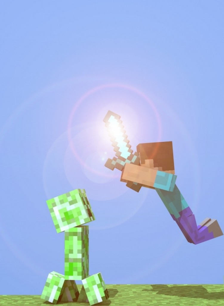 Cropped Minecraft Wallpaper Steve And Creeperwallpapers